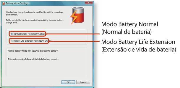 configuração battery life extender - notebook samsung