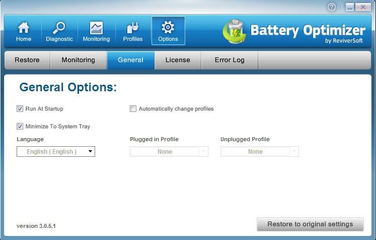 Battery Optimizer - Página de Configurações