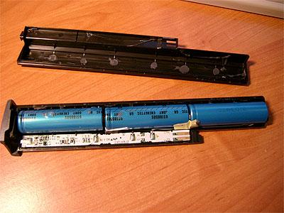 Bateria de notebook aberta exemplo