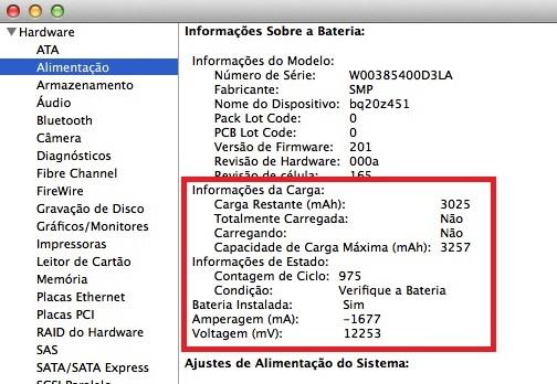 (Ex. neste notebook a bateria possuí 975 ciclos completos; a carga máxima é de 3257 mAh e sua carga restante está em 3025 mAh)